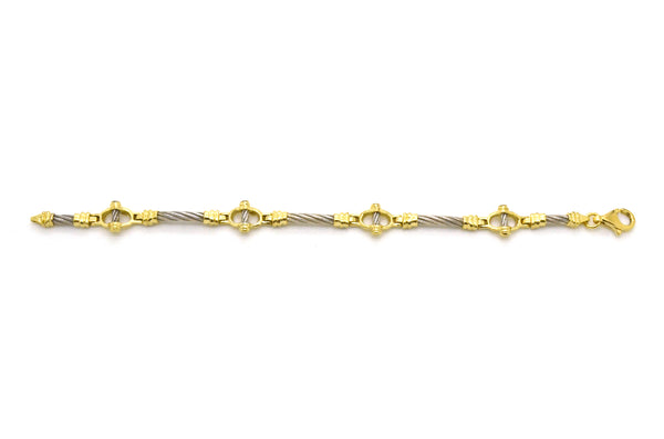 14k White and Yellow Gold Cable Motif Textured Link Bracelet - 7 in. length