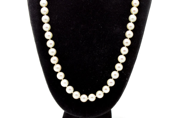 14k White Gold Strand of White 7 mm Pearl Strand Necklace with Clasp - 16.5 in.