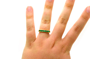 18k Yellow Gold Channel-Set Green Emerald Band Ring - .75 ct. total - Size 6.5