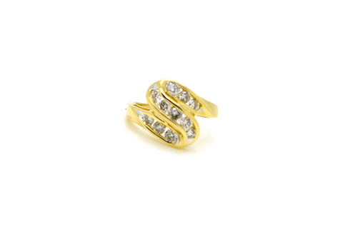 14k Yellow Gold Round Diamond Cluster Cocktail Ring - .50 ct. total - Size 4.75