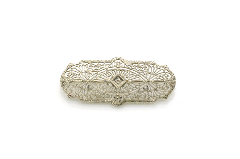 Vintage 10k White Gold Art Deco Diamond Filagree Bar Pin Brooch - .01 ct.