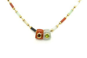 Vintage 14k Yellow Gold Link Jade and Gemstone Bar Necklace - 18.5 in.