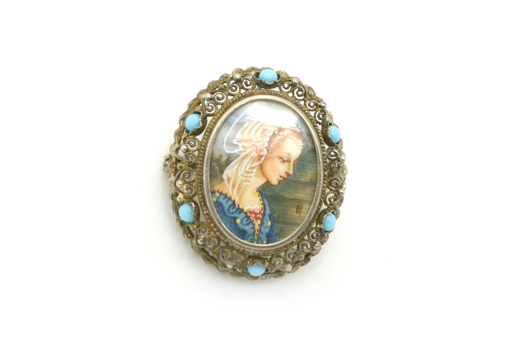 Vintage 800 Silver Woman Cameo Filagree Pendant Pin Brooch - 5.2 dwt