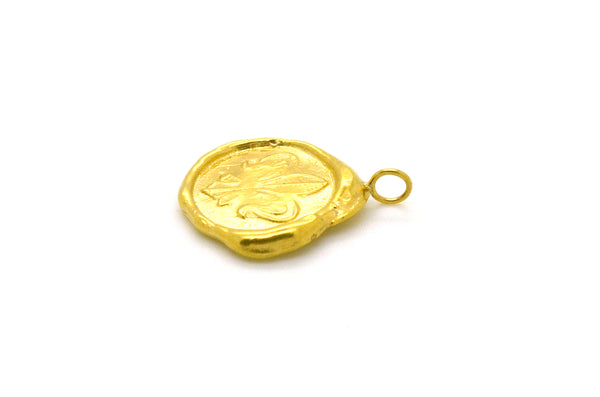 "Vintage 18k Yellow Gold Fleur de Lis Stamp ""Wax Seal"" Pendant - 26 mm by 20 mm"