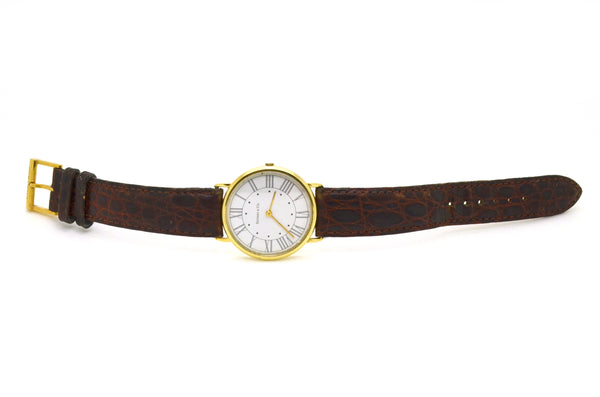 14k Yellow Gold Tiffany & Co. Quartz Watch - White Roman Dial - Leather Strap