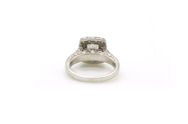 14k White Gold Princess Diamond Halo Engagement Ring - .90 ct. total - Size 4.5