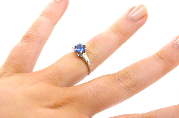 Platinum Round Tanzanite & Baguette Diamond Cocktail Ring - 1.25 ct. tw - Size 6