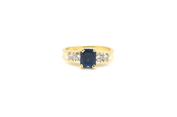 Vintage 14k Yellow Gold Sapphire & Diamond Cocktail Ring - 1.50 ct. tw - Size 8