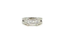 Platinum Princess Diamond Split Shank Heart Band Ring - 1.00 ct. tw - Size 7.5