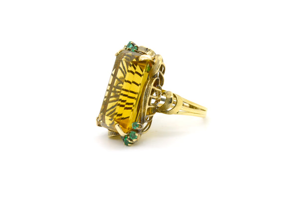 14k Yellow Gold Citrine & Emerald Large Cocktail Ring - 38.60 ct. tw - Size 7