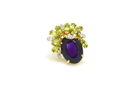 18k Yellow Gold Amethyst Peridot & Diamond Cocktail Ring - 15.50 cttw - Size 4.5