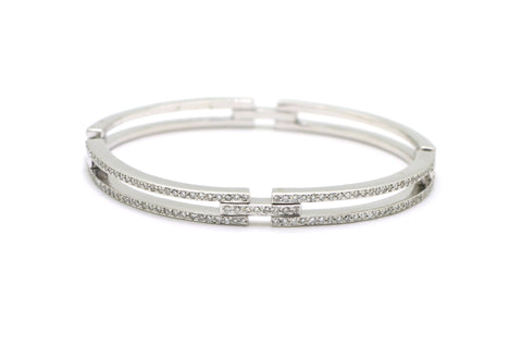 18k White Gold Round Diamond Hinged Bangle Bracelet - 1.00 ct. total - 6.5 in.