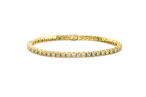 14k Yellow Gold Round Diamond Link Tennis Bracelet - 6.25 ct. total - 7 in.
