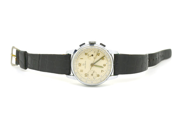 Vintage Helbros Stainless Steel Tachymeter 17 Jewels Watch - Black Leather Strap