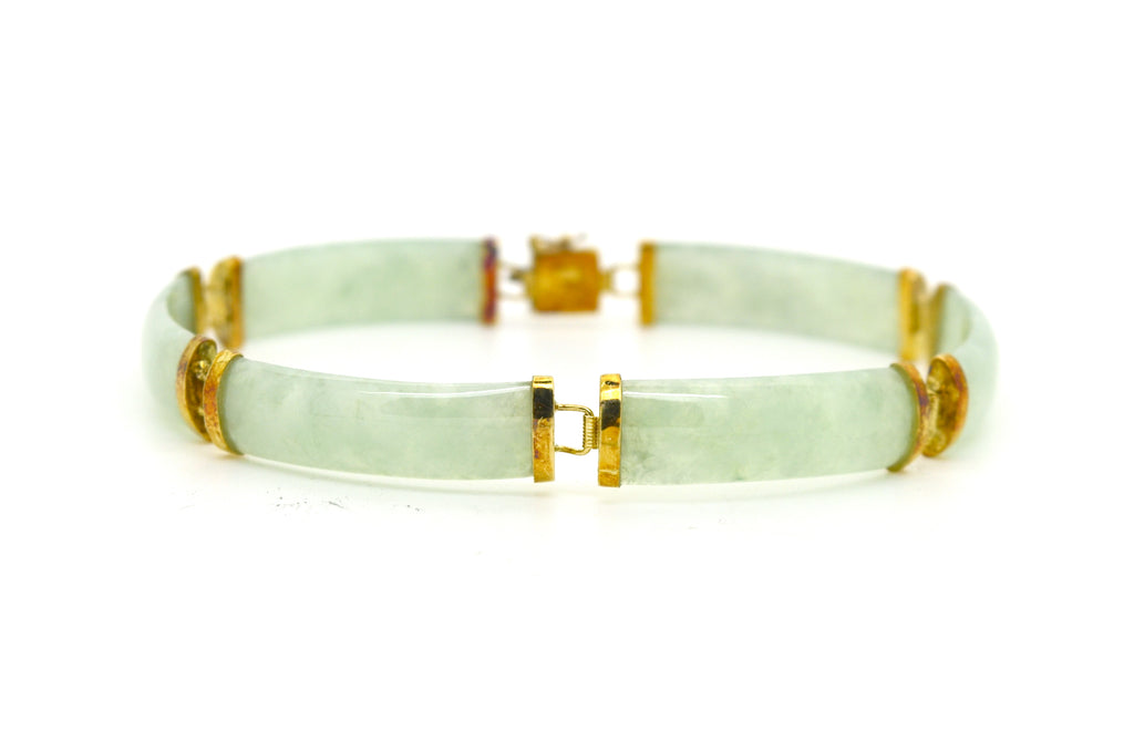 14k Yellow Gold Green Jade Gemstone Tennis Fine Bracelet - 8.25 in. length