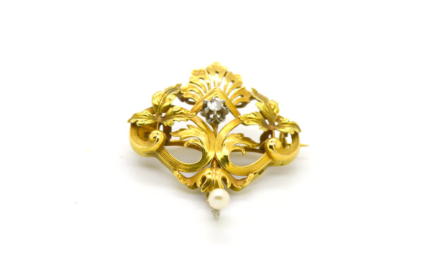 Vintage Art Nouveau 14k Yellow Gold Diamond & Seed Pearl Brooch - .05 ct. total