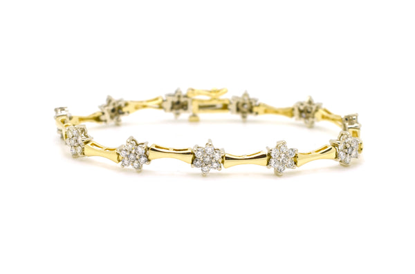 14k Yellow Gold Round Diamond Cluster Line Bracelet - 2.00 ct. total - 7 in.