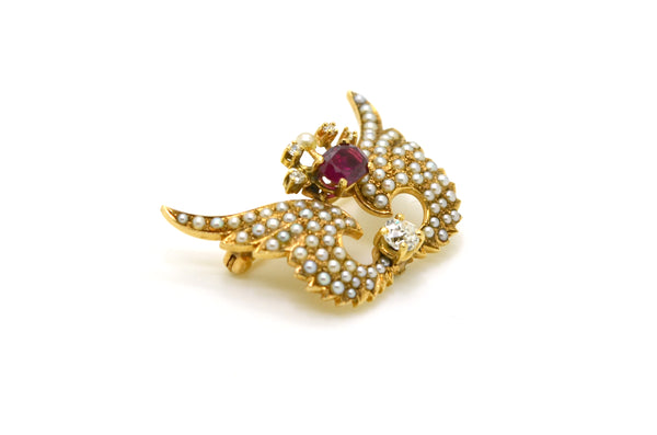Antique 14k Yellow Gold Diamond Ruby Seed Pearl Wings Pin Brooch - .95 ct. total