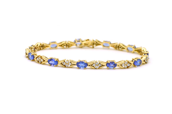 14k Yellow Gold Tanzanite & Diamond Link Tennis Bracelet - 6.0 ct. total - 7 in.