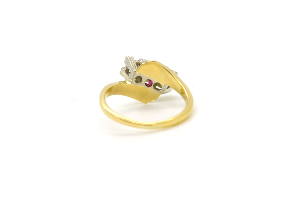 Vintage 14k Yellow Gold Ruby & Diamond Bypass Ring - .35 ct. total - Size 5.25