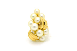 Vintage Mings 14k Yellow Gold White Pearl Cluster Cocktail Ring - Size 7.75