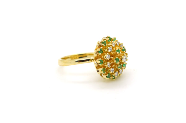 Vintage 14k Yellow Gold Emerald & Diamond Ring - .90 ct. total - Size 6.5