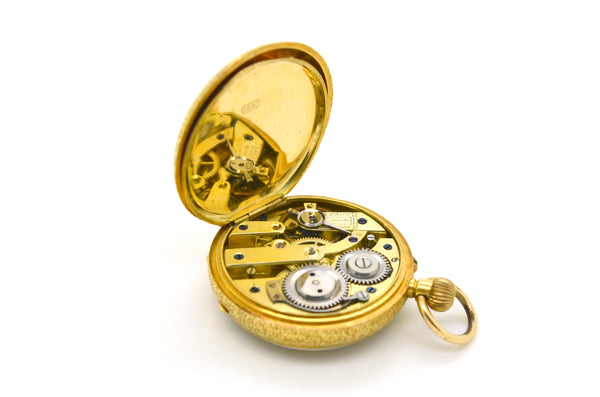 Vintage Antique 18k Yellow Gold Engraved Pocket Watch - c. 1895 - 34 mm - #54969