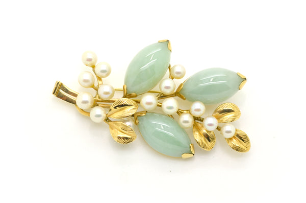 Vintage Mings 14k Yellow Gold Jade & Pearl Brooch Pin - 61 by 35 mm - 11.5 dwt