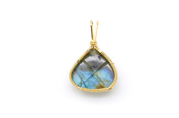 10k Yellow Gold Wire Wrapped Statement Pendant with Carved Labradorite Stone
