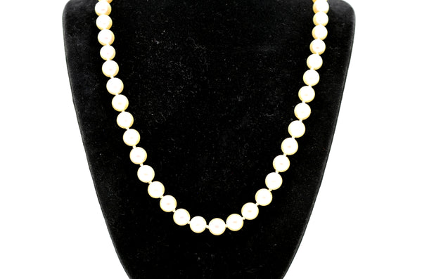 14k White Gold White 6.5 mm Pearl Strand Necklace with Clasp - 15.5 in. length