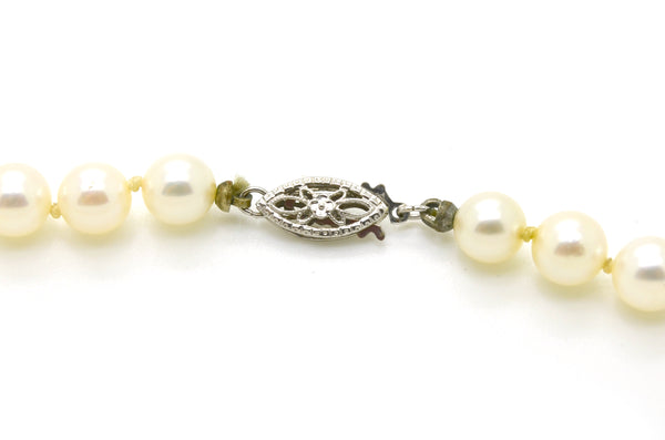 14k White Gold White 6 mm Pearl Strand Necklace with Clasp - 16.5 in. length