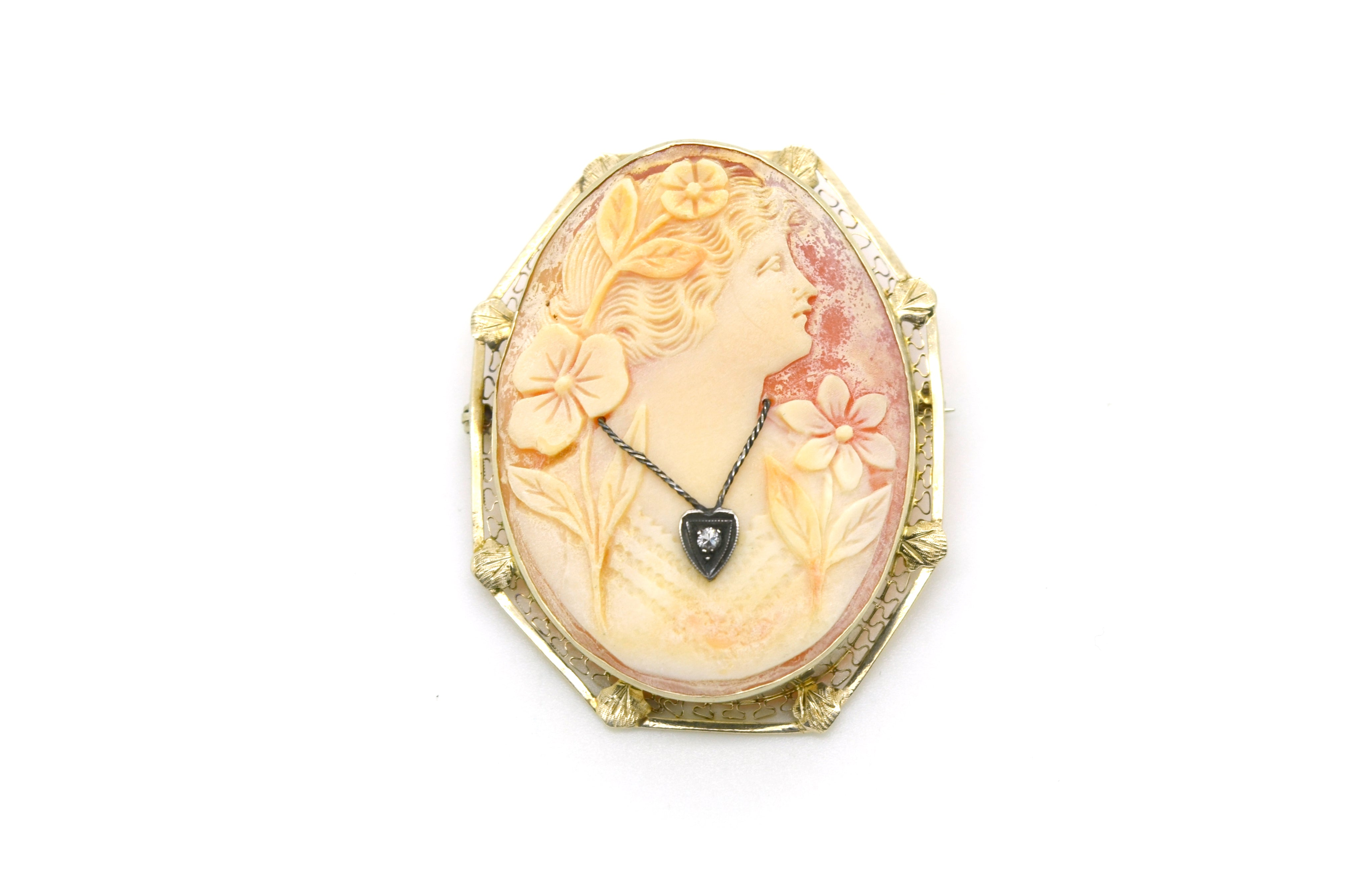 Vintage 14k White Gold Woman Cameo Diamond Pendant Brooch in Frame - 49 by 39 mm