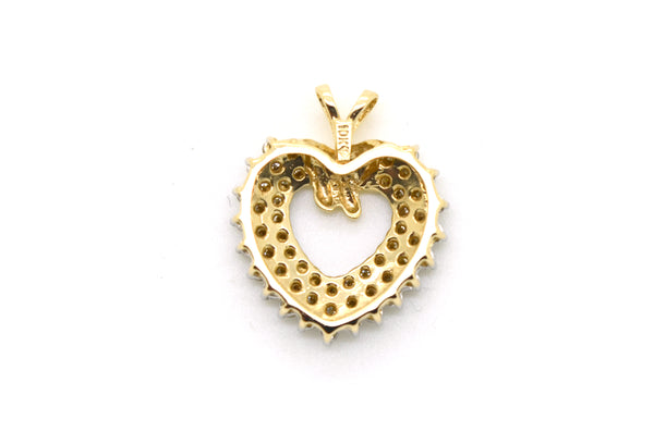 10k Yellow Gold Heart Shaped Pendant with Round Diamonds - 1.00 ct. total