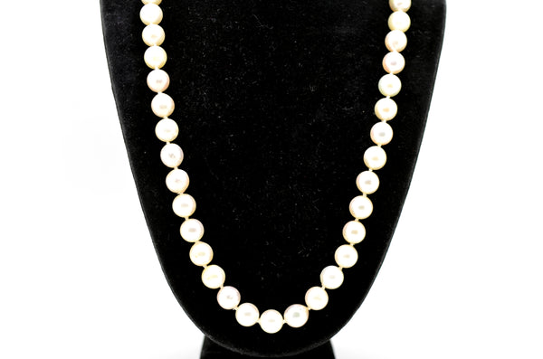 14k White Gold White 7 mm Pearl Strand Necklace with Clasp - 22.5 in. length