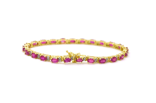 14k Yellow Gold Oval Ruby & Diamond Link Tennis Bracelet - 6.5 ct. total - 7 in.