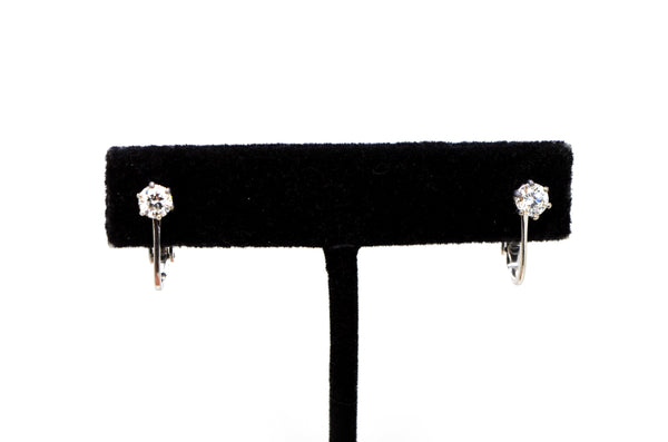 14k White Gold Round Diamond Prong Clip-on Huggie Earrings - .70 ct. total
