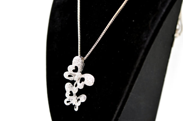14k White Gold Diamond Two Butterlies Pendant Necklace - .50 ct. total - 22 in.