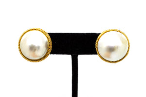 14k Yellow Gold Round Mabe Pearl Statement Earrings with Omega Back - 23 mm