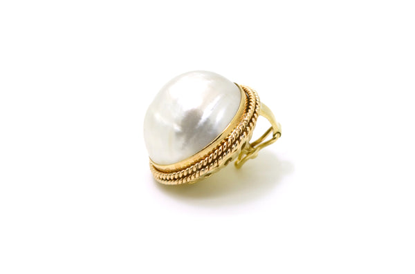 14k Yellow Gold Round White Mabe Pearl Statement Pendant Enhancer - 24 mm