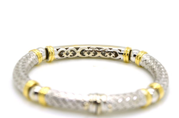 18k White & Yellow Gold Diamond Cluster Bangle Bracelet - 1.00 ct. total - 7 in.