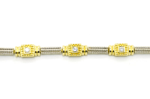 14k White & Yellow Gold Diamond Station Tennis Bracelet - .50 ct. total - 7 in.