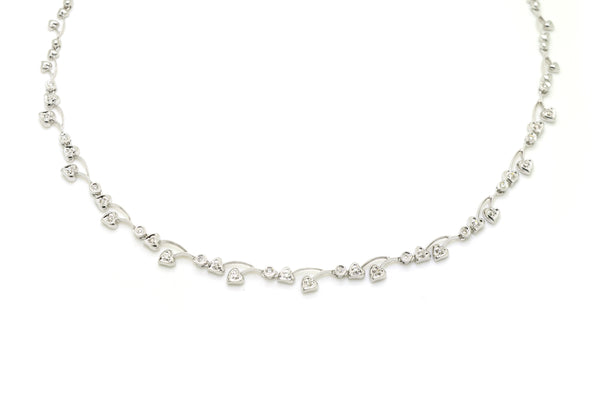 14k White Gold Heart Cluster Diamond Statement Necklace - .20 ct. total - 17 in.
