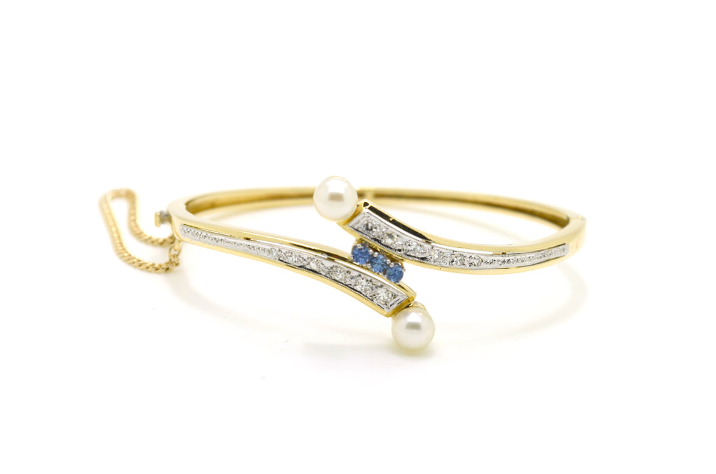 14k Yellow Gold Diamond Sapphire Pearl Bypass Bracelet - .50 ct. total - 6.5 in.