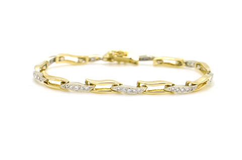 14k White & Yellow Gold Diamond Wave Tennis Bracelet - .60 ct. total - 6.5 in.