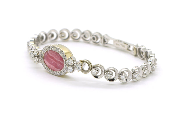 Vintage 14k White Gold Pink Agate Diamond Link Bracelet - 1.70 ct. tw - 7.5 in.