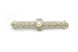 Vintage Art Deco 14k White Gold Diamond Pearl Filagree Bar Pin Brooch - .40 cttw