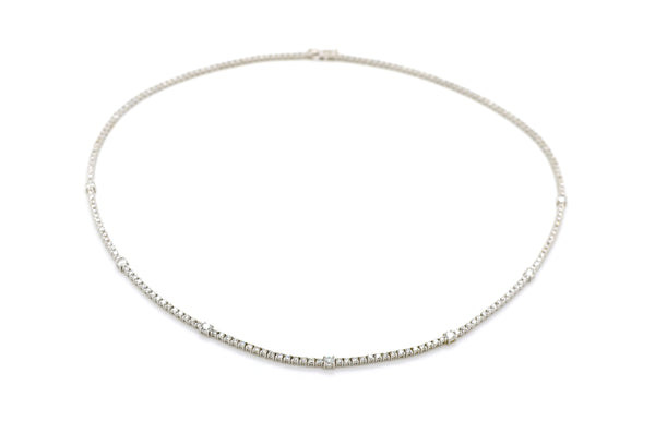 18k White Gold Round Diamond Riviera Tennis Necklace - 5.50 ct. total - 16.5 in.