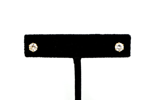 14k Yellow Gold Round Diamond Six Prong Push Back Stud Earrings - .95 ct. total