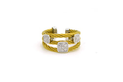 Charriol 18k Yellow & White Gold Diamond Cable Cuff Ring - .10 ct. tw - Size 5.5
