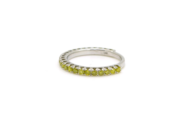 14k White Gold Round Pave-Set Yellow Diamond Band Ring - .50 ct. total - Size 7